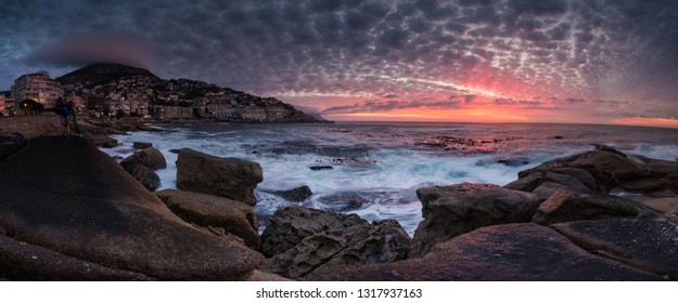 Wide angle view of a seascape scene in Seapoint in Cape town south africa