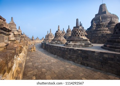 Wide angle view of the stupas at Borobudur Temple, Java, Indonesia