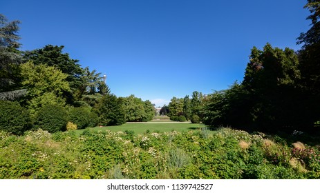 Wide angle view of summer at Parco Sempione in Milan, Lombardy, Italy