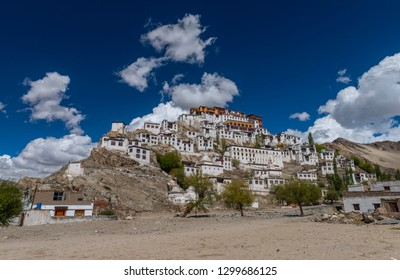Wide angle view of Thiksey monastery at Leh, India