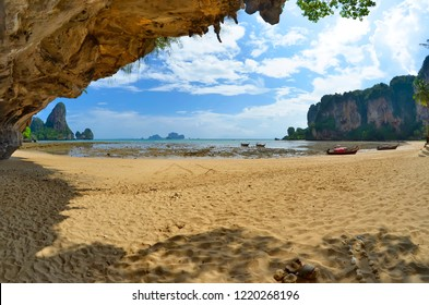 Wide angle view of the Tonsai bay  between Ao Nang and Railay at low tide