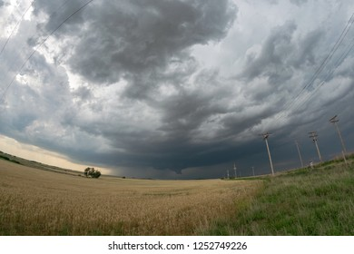 Wide angle view of a tornadic supercell over the plains of northwestern Oklahoma