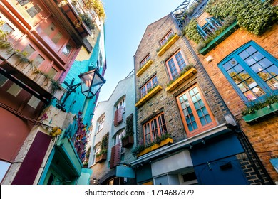 Wide Angle View of Traditional Colourful Houses under Morning Blue Skies in Covent Garden, London, UK