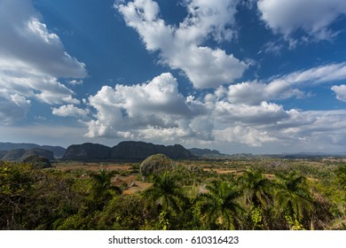 A wide angle view of the Vinales Valley, Cuba.