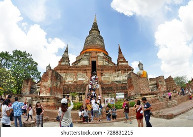 Wide angle view of the Wat Yai Chai Mongkhon in Ayutthaya, Thailand - April 14th, 2017