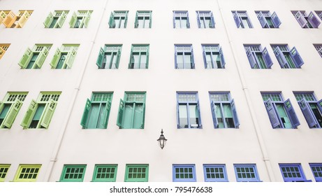 wide angle of Wall building with a lot of colourful window , Background with colourful window