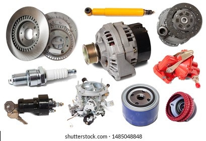 wide assortment of different car details isolated on white background