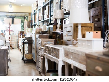 Wide assortment of vintage furniture and home design objects in shop