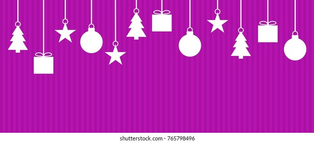 Wide background striped purple with Christmas Decoration