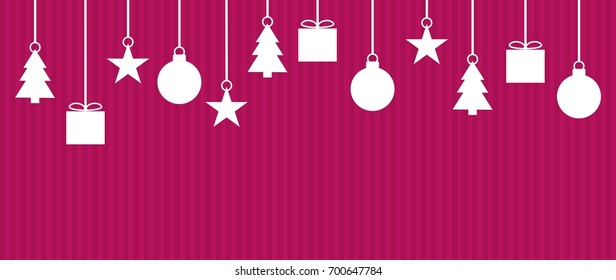 Wide background with white Christmas Decoration on violet stripes