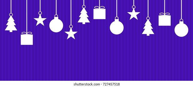 Wide background with white Christmas Decoration on dark violet stripes