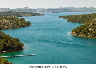 Wide bay near Skradin city in Croatia, Europe
