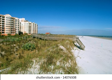 wide beach at new smyrna beach florida on atlantic ocean