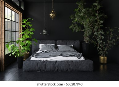 Wide bed in dark room with black walls and floor, tall potted plants and big window - interior design concept. 3d rendering