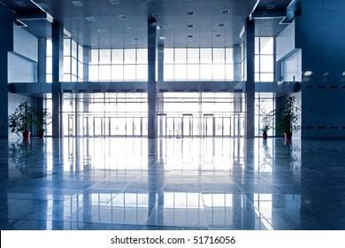 Wide blue hall interior