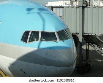Wide body jet moves toward terminal in Delhi, India.