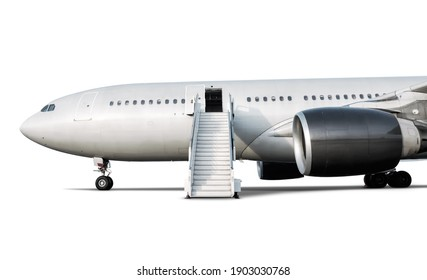 Wide body passenger jet plane with air-stairs at the airport apron isolated on white background