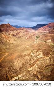 "Wide Canyon ""Fataga"" on Island of Gran Canaria in Spain. 14 km long canyon seen from viewpoint ""Degollada de las yeguas"""