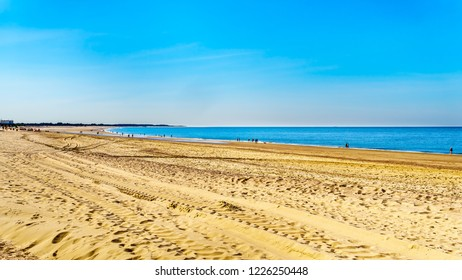 The wide and clean sandy beach at Banjaardstrand along the Oosterschelde inlet at the Schouwen-Duiveland peninsula in the province of Zeeand in the Netherlands