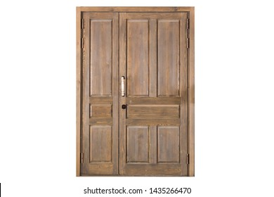 Wide closed wooden entrance door for exterior design. Antique style. Dark brown wood surface double door photography. Isolated on white background. Image.