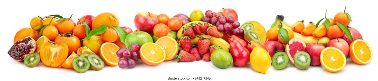 Wide collage fresh fruits on white background. Bananas, citrus fruits, apples, kiwi, oranges, strawberries, lemons, persimmons. Skinali food.