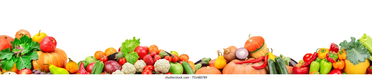 Wide collage of fresh fruits and vegetables for layout isolated on white background. Free space for text.