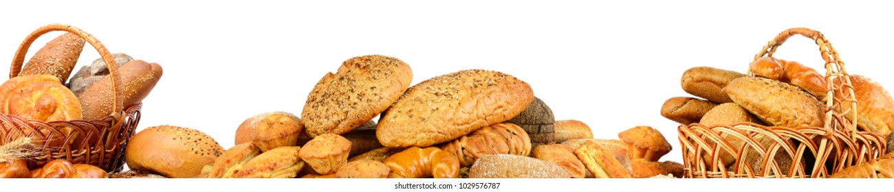 Wide collage freshly baked bread items isolated on white background.