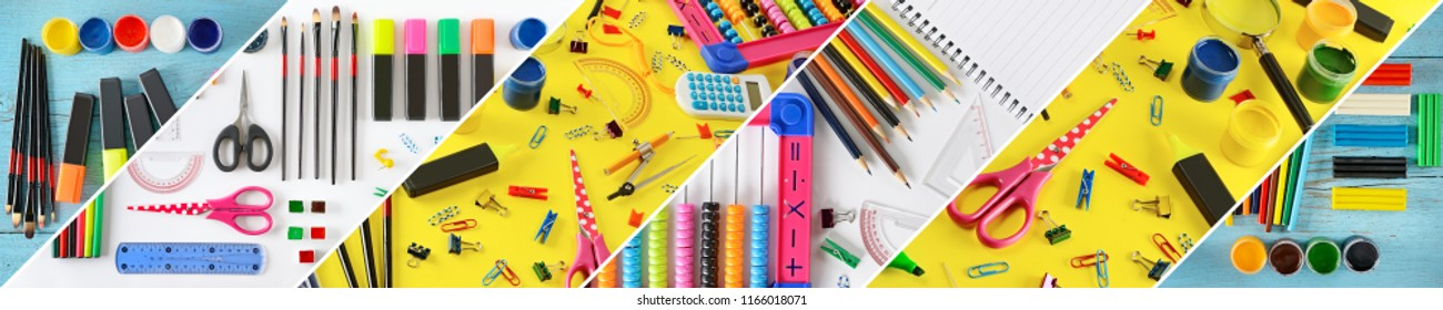 Wide collage stationery / school supplies separated inclined lines
