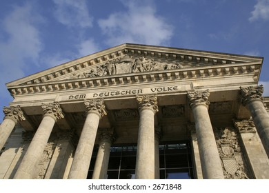 wide column view of reichstag entrance, berlin, germany