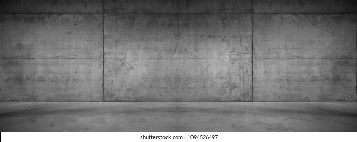 Wide Concrete Texture Background Wall with Floor Panorama for Composing - Shutterstock ID 1094526497