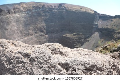 Wide Crater of Volcan Called Vesuvio near Naples in Italy