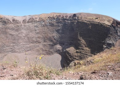 wide crater of volcano Vesuvius also called Vulcano Vesuvio in Italian language near Naples in Southern Italy in summer without people