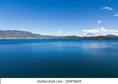 A wide deep blue lake