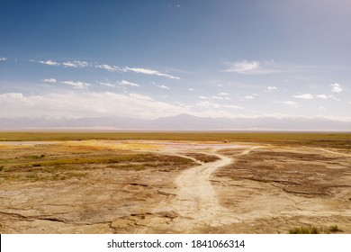Wide deserted land with curve path.