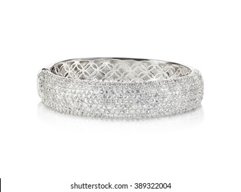 Wide diamond crystal Bangle Bracelet isolated on white