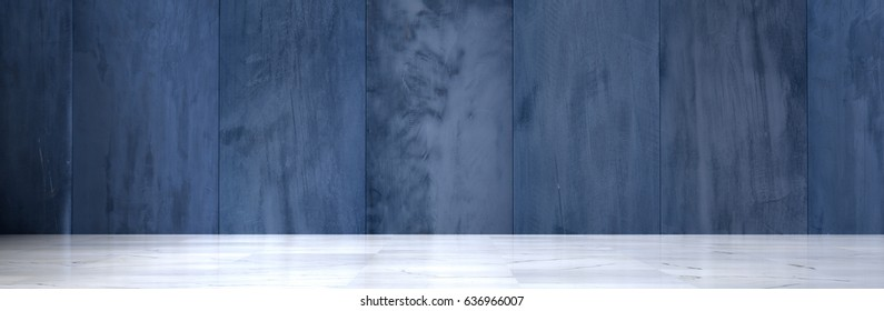 Wide Empty Room With Concrete Walls and Polished Marble Floor (3d Illustration)