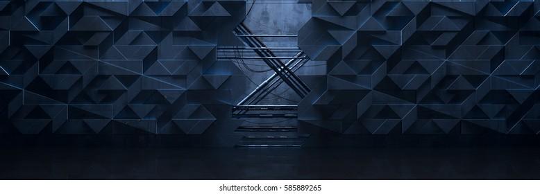 Wide Futuristic Room (3d Illustration)