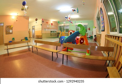 Wide Hall in the kindergarten with toys and without children