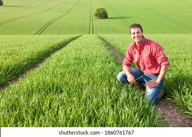 A wide horizonal portrait of a smiling farmer crouched down in a wheat field while holding a crop in his hand