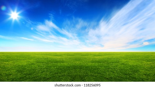 Wide image of green grass field and bright blue sky