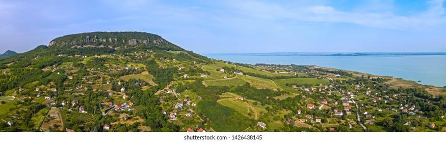 Wide landscape of Badacsony mountain at Lake Balaton