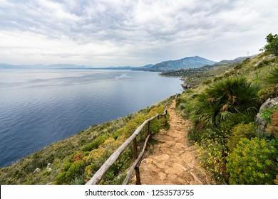 "Wide landscape of ""Riserva dello Zingaro"", a beautiful natural reserve famous for its beaches and hiking trail, San Vito Lo Capo, Sicily, Italy"