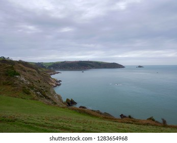 Wide landscape photo looking across the south Devon coastline from Little Dartmouth, just south of Dartmouth, Devon.