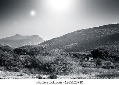 Wide landscape shot of mountains in the deep forest along with sun and sun flair.