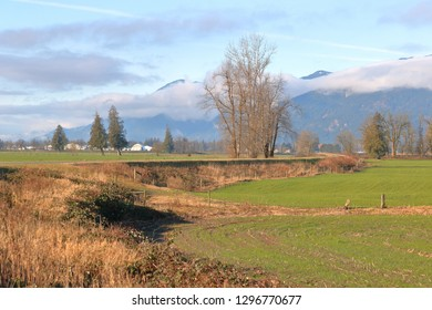 Wide, landscape view of a dike protecting agricultural farm land seen during the winter months.