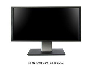 Wide lcd monitor with black screen isolated on white background