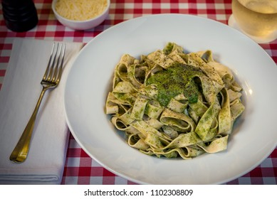 Wide Noodles with Pesto