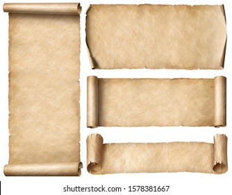 Wide old paper scrolls or banners set isolated on white