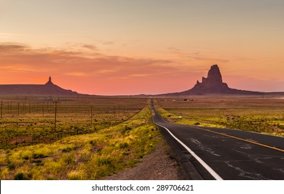 A wide open scene framing a historic highway in Arizona.