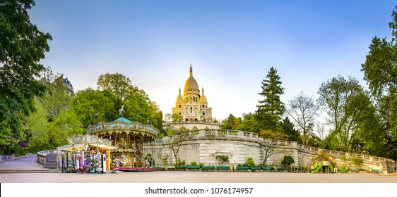 Wide pano of basilica of Sacre-Coeur in Montmartre, Paris, France